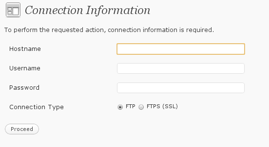 WordPress.org Instance -  FTP Credentials Required